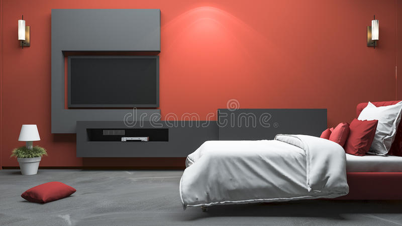 3d het teruggeven rode moderne stijlslaapkamer met gebouwd in ontwerp stock illustratie