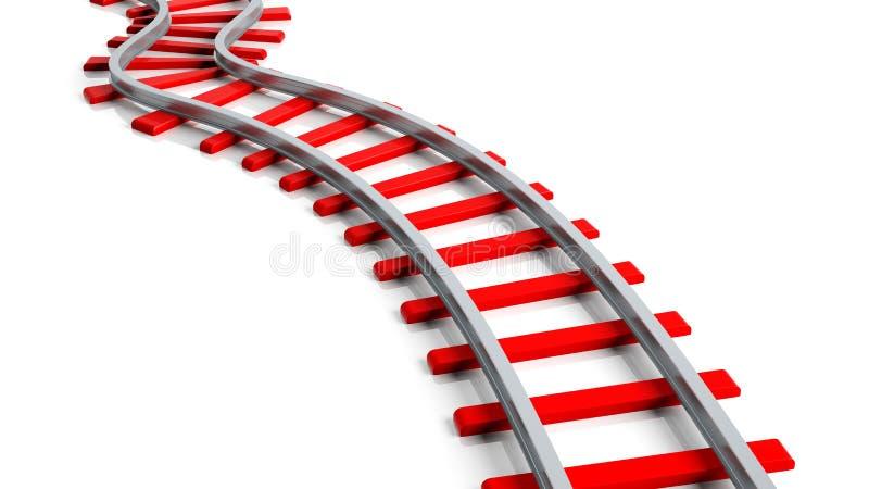 3D het teruggeven rood spoorwegspoor vector illustratie