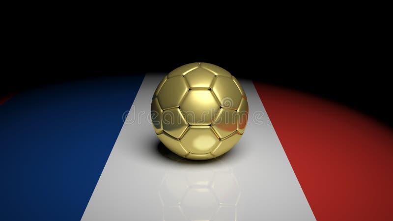 3d het teruggeven Voetbalbal op de vlag van Frankrijk vector illustratie