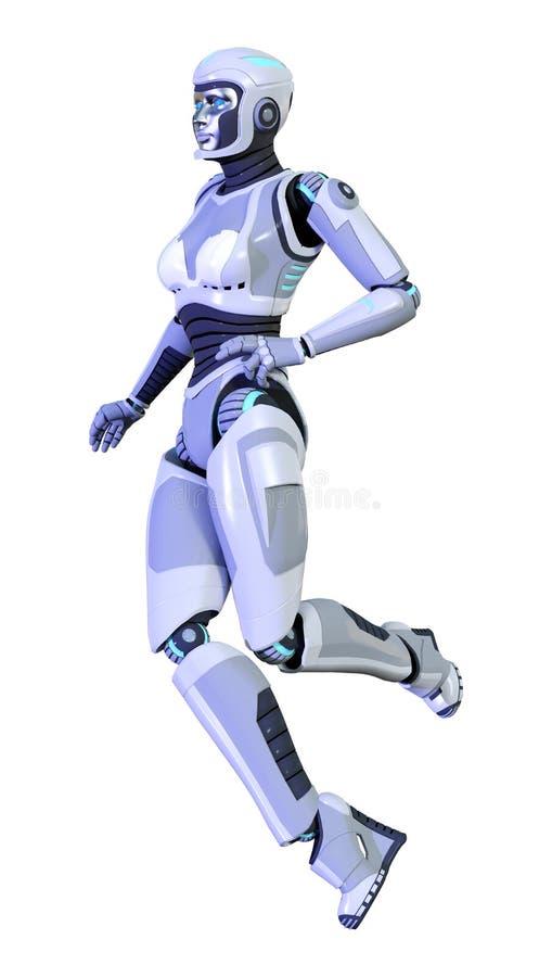 3D het teruggeven vrouwelijke die robot op witte achtergrond wordt geïsoleerd stock illustratie