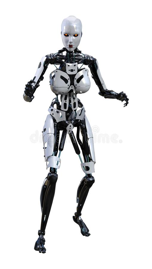 3D het Teruggeven Vrouwelijke Robot op Wit vector illustratie