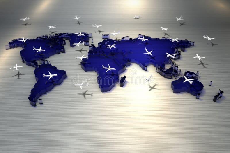 3d het teruggeven Wereldkaart met vele vliegtuigen die boven de grond vliegen stock illustratie