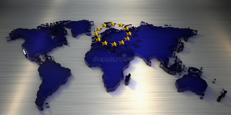3d het teruggeven Wereldkaart van glas met sterren van de Europese Unie stock illustratie
