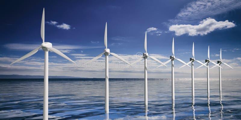 3d het teruggeven windgenerators vector illustratie