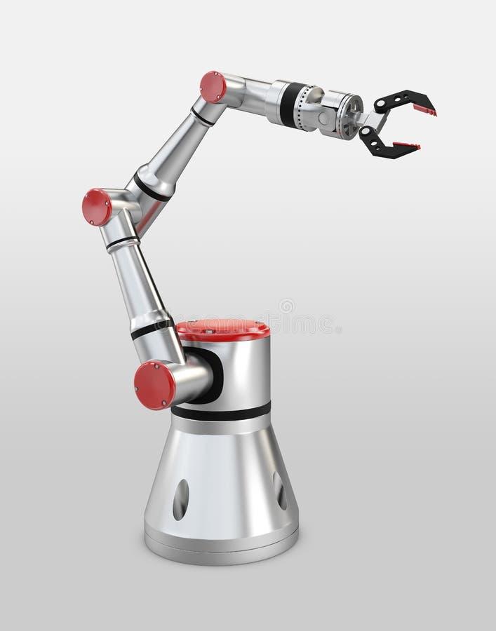3d het teruggeven wit robotachtig wapen op witte achtergrond stock illustratie
