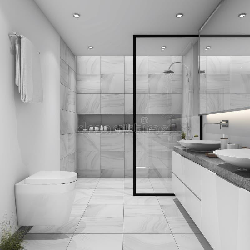 3d het teruggeven witte tegel moderne badkamers stock illustratie