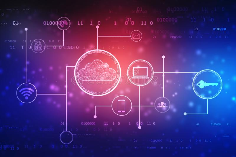 2d het teruggeven Wolk die, Cloud Computing-Concept, technologie concce gegevens verwerken royalty-vrije illustratie