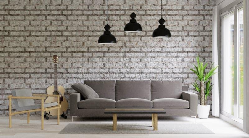 3d het teruggeven Woonkamerzolder en industriële stijl, bakstenen muur, grote ruimte royalty-vrije illustratie