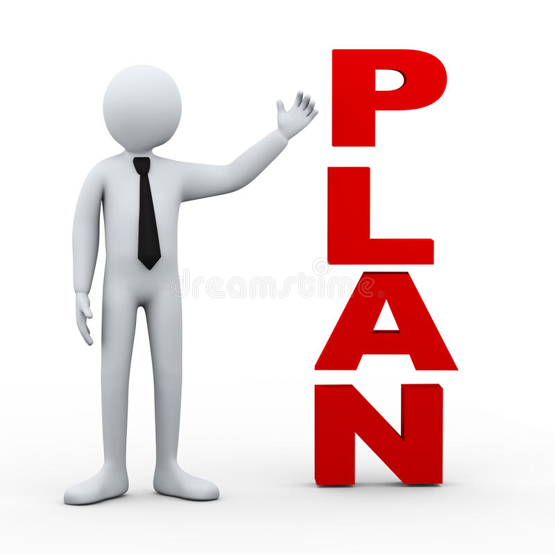 3d het woordpresentatie van het mensenplan vector illustratie
