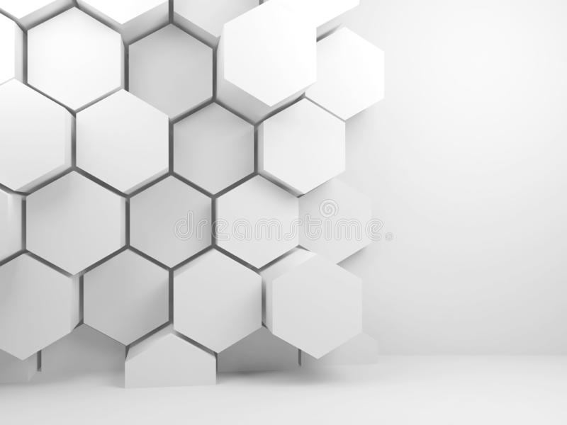 3d hexagon pattern and copy space. Abstract blank white interior background with hexagon pattern and copy space on front wall, 3d render illustration stock photos