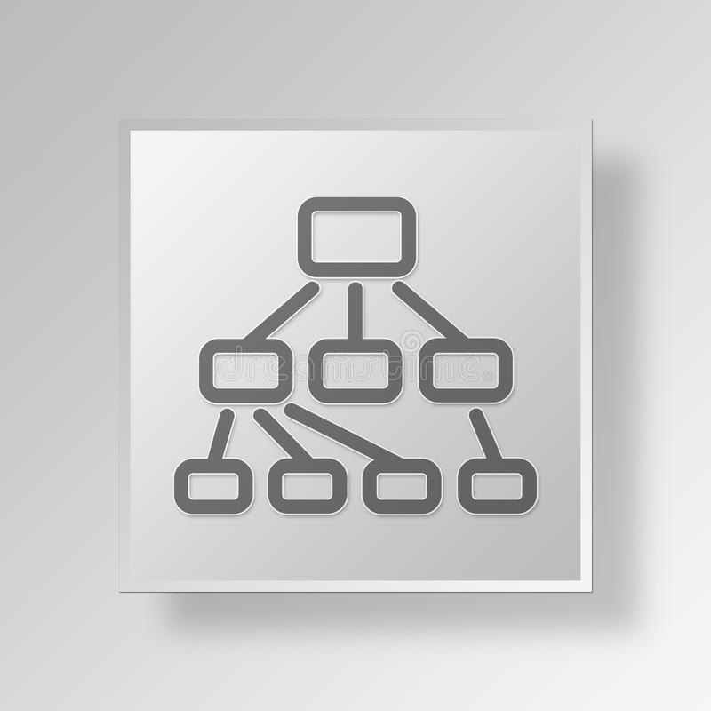 3D hierarchy Button Icon Concept royalty free illustration