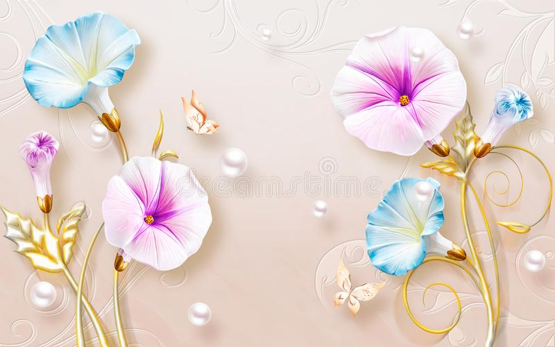 3d wallpaper,background,decoration,design,wall. 3D High Decoration Background Wallpaper,n3D wallpaper design with floral for photo mural background royalty free stock image
