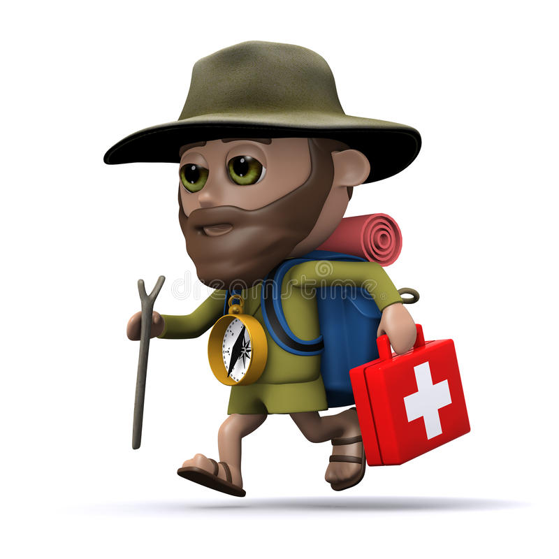 3d Hiker running with a first aid kit stock illustration