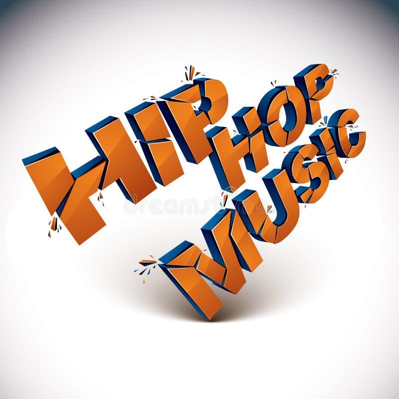 3d Hip Hop音乐词闯进片断,被拆毁的传染媒介desi 库存例证