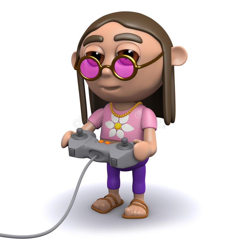 Download 3d Hippy plays a videogame stock illustration. Illustration of peace - 42995982
