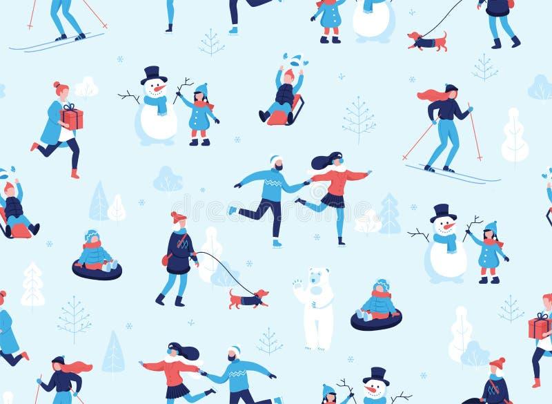 D'hiver de sports modèle sans couture dehors Les gens ayant des activités d'amusement et d'hiver dans le parc, ski, patinant illustration stock