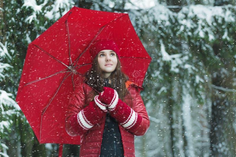D'hiver portrait dehors de jeune femme de sourire images libres de droits