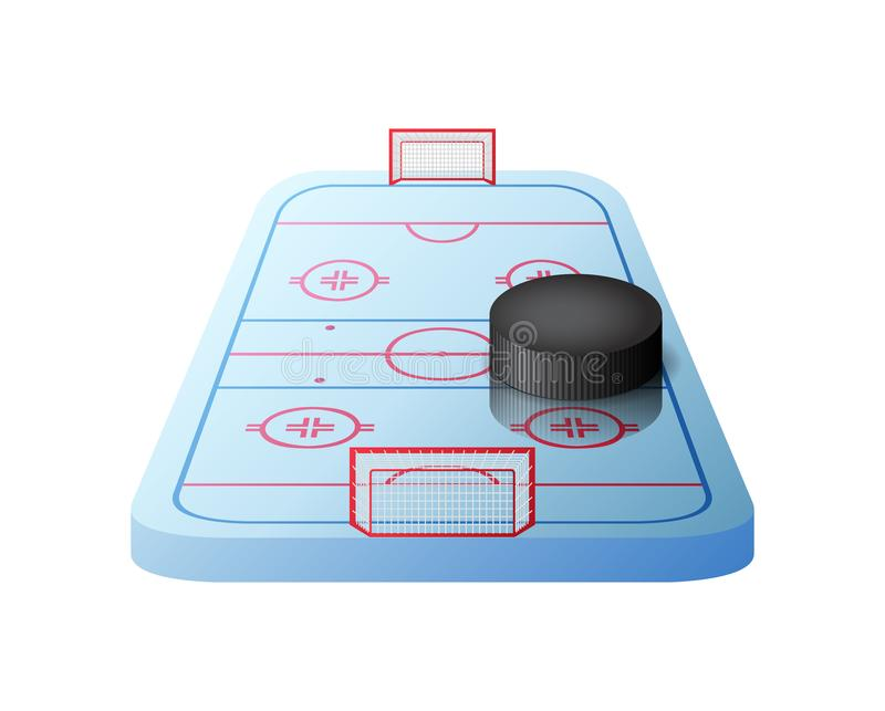 3d hockey rink with gates and black puck isolated vector illustration
