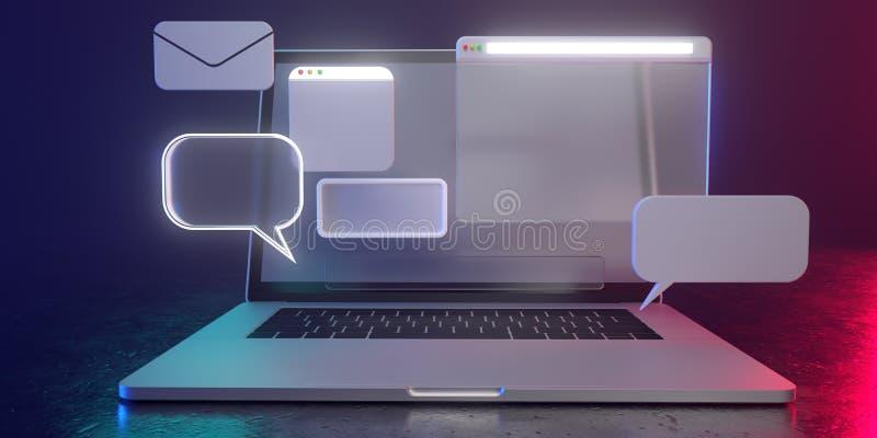 3D-Holografische Icons auf Laptop mit dimmer Beleuchtung - 3D-Abbildung der Nutzung sozialer Medien Alle leben in einer futuristi stockbilder
