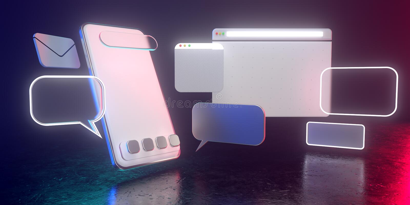 3D-Holografisches Smartphone-Icons mit dunklem Licht - 3D-Illustration der Nutzung sozialer Smartphone-Medien Alle leben in futur stockfotos