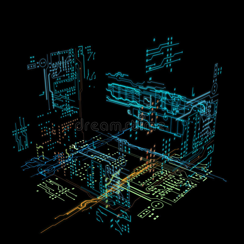 3d hologram futuristic interface. Colors line and form vector illustration