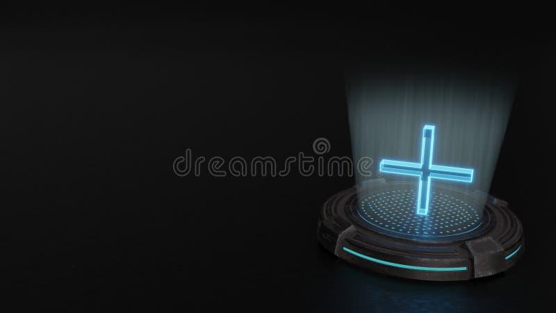 3d hologram plus symbol icon render stock image