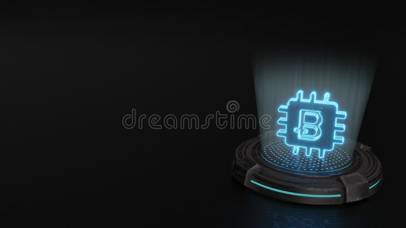 3d hologram symbol of bitcoin chip icon render. Blue digital laser 3d hologram symbol of bitcoin as computer chip render on old metal sci-fi pad background royalty free illustration