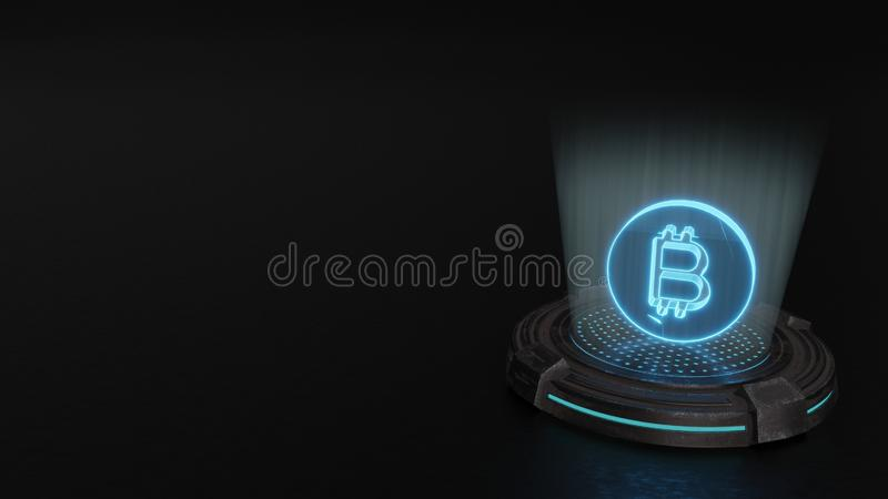 3d hologram symbol of bitcoin coin icon render. Blue digital laser 3d hologram symbol of bitcoin as coin render on old metal sci-fi pad background stock illustration