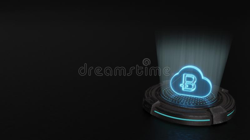 3d hologram symbol of bitcoin icon render. Blue digital laser 3d hologram symbol of bitcoin in cloud render on old metal sci-fi pad background vector illustration