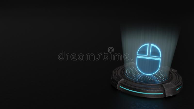 3d hologram symbol of computer 2 icon render royalty free illustration