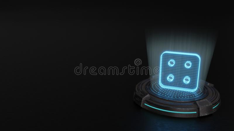 3d hologram symbol of dice four icon render. Blue stripes digital laser 3d hologram symbol of dice four render on old metal sci-fi pad background vector illustration