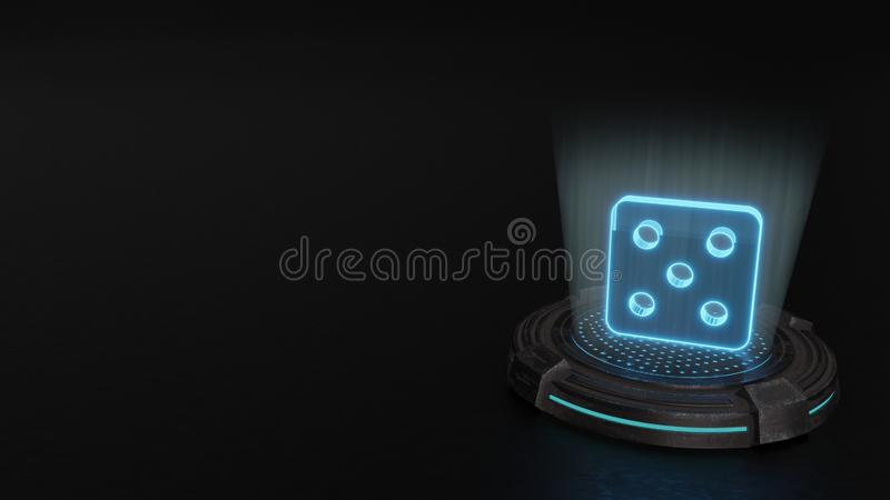 3d hologram symbol of dice icon render. Blue stripes digital laser 3d hologram symbol of dice render on old metal sci-fi pad background vector illustration