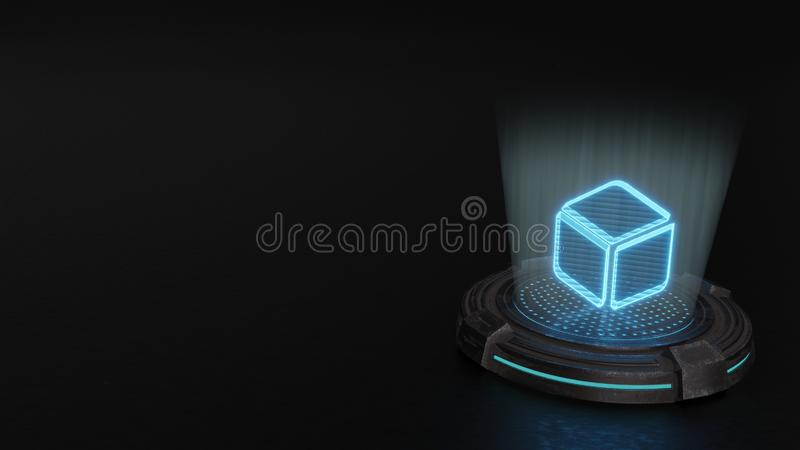 3d hologram symbol of dice d6 icon render. Blue stripes digital laser 3d hologram symbol of dice d6 render on old metal sci-fi pad background stock illustration