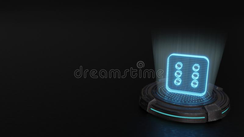 3d hologram symbol of dice six icon render. Blue stripes digital laser 3d hologram symbol of dice six render on old metal sci-fi pad background vector illustration