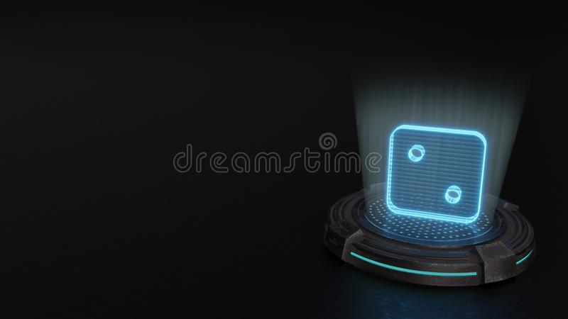 3d hologram symbol of dice two icon render. Blue stripes digital laser 3d hologram symbol of dice two render on old metal sci-fi pad background royalty free illustration