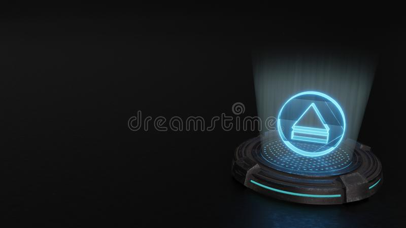3d hologram symbol of eject 1 icon render. Blue stripes digital laser 3d hologram symbol of eject 1 render on old metal sci-fi pad background stock illustration