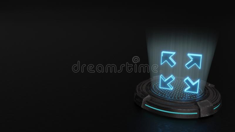 3d hologram symbol of expand icon render. Blue stripes digital laser 3d hologram symbol of expand render on old metal sci-fi pad background stock photography