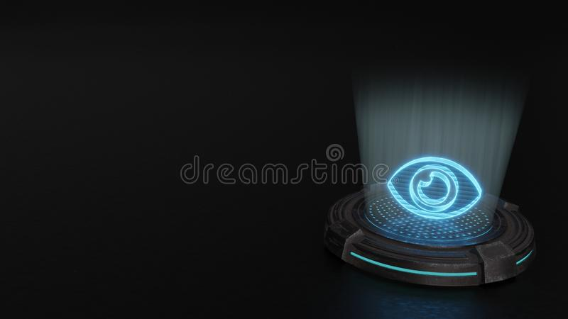 3d hologram symbol of eye icon render. Blue stripes digital laser 3d hologram symbol of eye render on old metal sci-fi pad background stock images