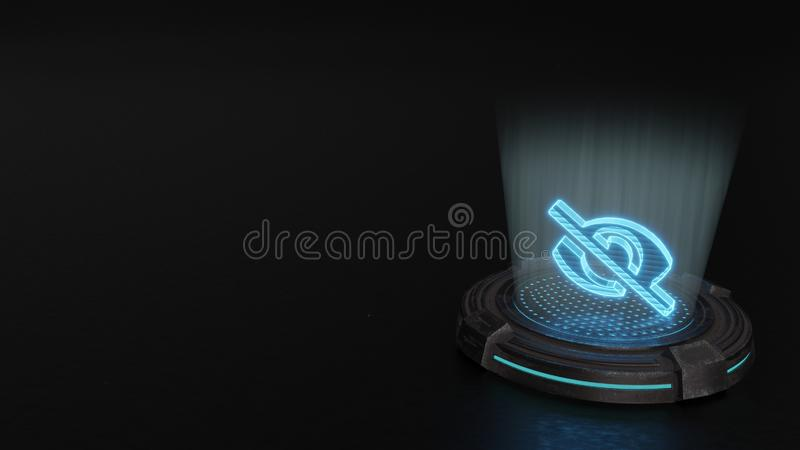 3d hologram symbol of eye slash icon render. Blue stripes digital laser 3d hologram symbol of eye slash render on old metal sci-fi pad background stock photos