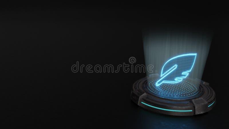 3d hologram symbol of feather alt icon render stock illustration