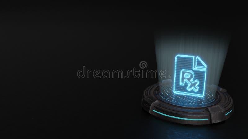 3d hologram symbol of file prescription icon render. Blue stripes digital laser 3d hologram symbol of paper with bent corner and prescription symbol render on vector illustration