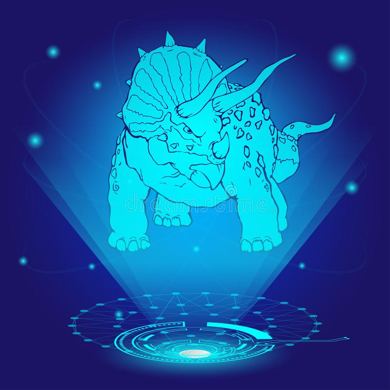3D hologram of triceratops. vector illustration