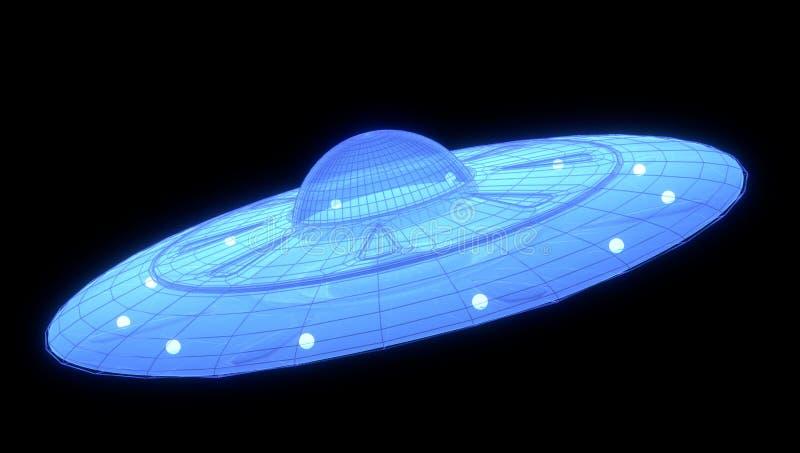 3d hologram van een ovni, 3d illustratie stock afbeeldingen