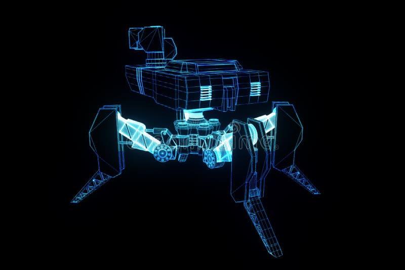 3D Hologram Wireframe van de Robottank in Motie Het 3D Teruggeven van Nice royalty-vrije illustratie