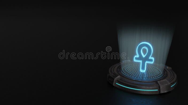 3d holograma symbol ankh ikona odp?aca si? royalty ilustracja
