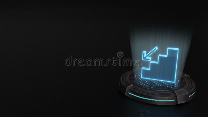 3d hologramsymbool van gevallen pictogram geeft terug vector illustratie