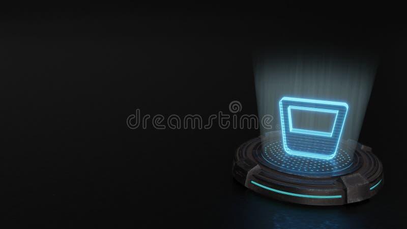 3d hologramsymbool van het pictogram van de glaswhisky geeft terug stock afbeelding