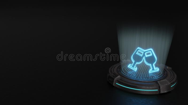 3d hologramsymbool van het pictogram van glastoejuichingen geeft terug royalty-vrije stock fotografie