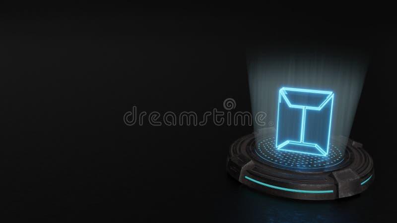 3d hologramsymbool van verzegeld enveloppictogram geeft terug vector illustratie