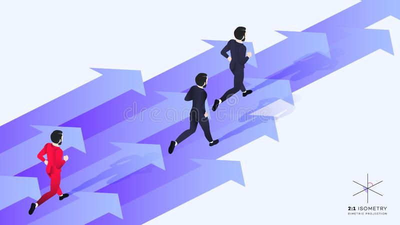 3d hombre de negocios rojo Run Behind Team Ejemplo isométrico conceptual de la dirección ilustración del vector